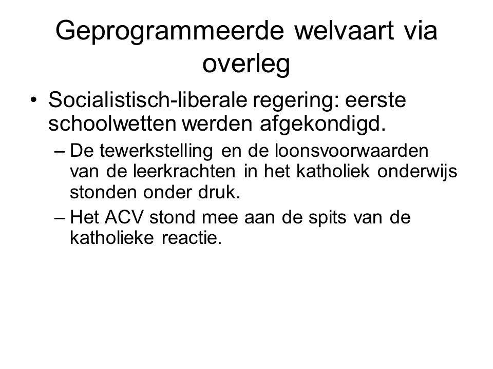 Geprogrammeerde welvaart via overleg Socialistisch-liberale regering: eerste schoolwetten werden afgekondigd.