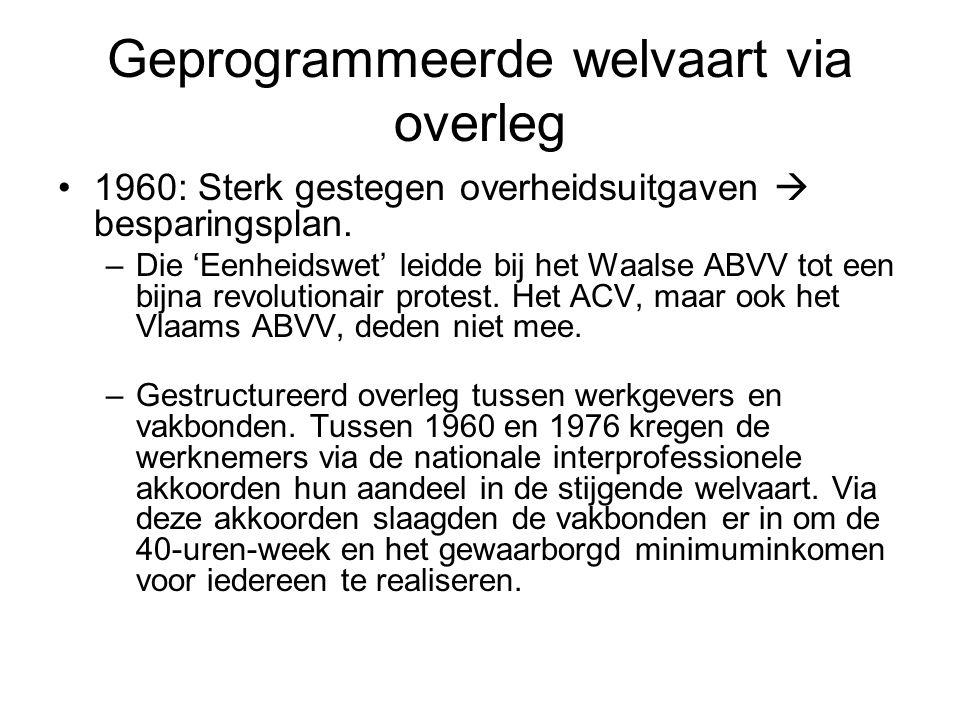 Geprogrammeerde welvaart via overleg 1960: Sterk gestegen overheidsuitgaven  besparingsplan. –Die 'Eenheidswet' leidde bij het Waalse ABVV tot een bi