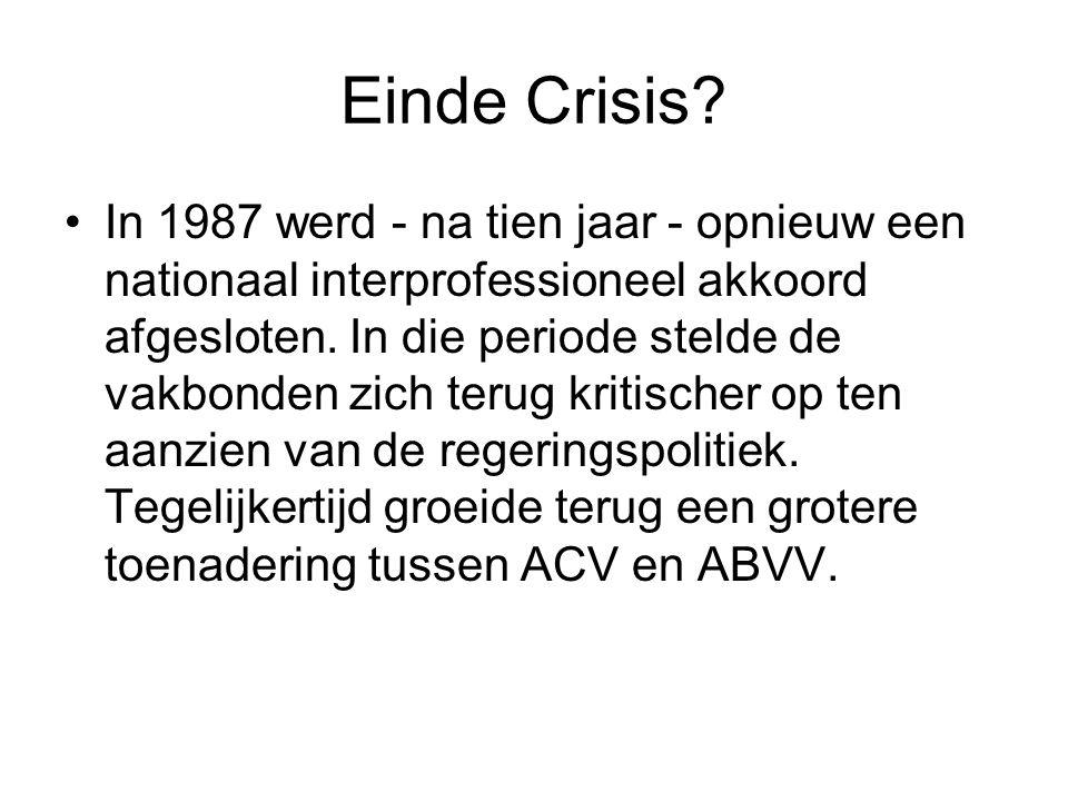 Einde Crisis? In 1987 werd - na tien jaar - opnieuw een nationaal interprofessioneel akkoord afgesloten. In die periode stelde de vakbonden zich terug