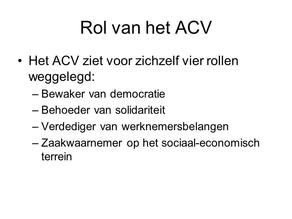 Rol van het ACV Het ACV ziet voor zichzelf vier rollen weggelegd: –Bewaker van democratie –Behoeder van solidariteit –Verdediger van werknemersbelangen –Zaakwaarnemer op het sociaal-economisch terrein
