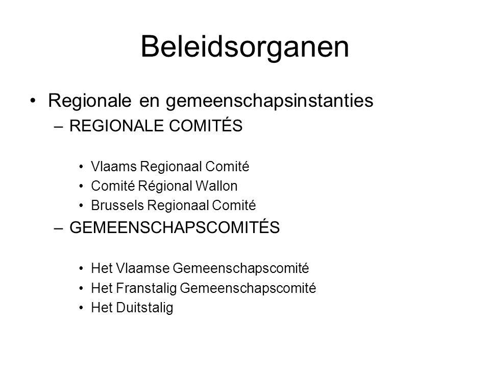 Beleidsorganen Regionale en gemeenschapsinstanties –REGIONALE COMITÉS Vlaams Regionaal Comité Comité Régional Wallon Brussels Regionaal Comité –GEMEENSCHAPSCOMITÉS Het Vlaamse Gemeenschapscomité Het Franstalig Gemeenschapscomité Het Duitstalig