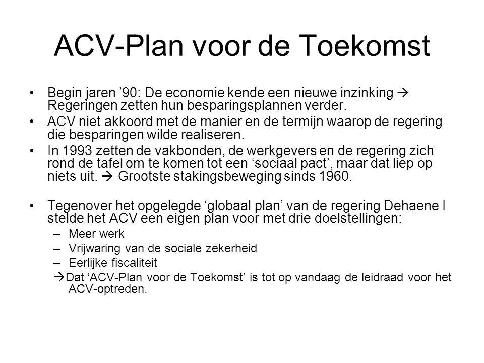 ACV-Plan voor de Toekomst Begin jaren '90: De economie kende een nieuwe inzinking  Regeringen zetten hun besparingsplannen verder. ACV niet akkoord m