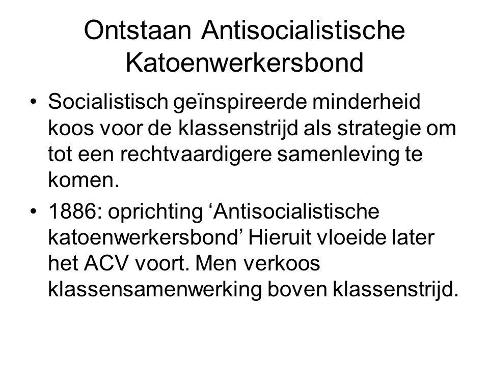 Ontstaan Antisocialistische Katoenwerkersbond Socialistisch geïnspireerde minderheid koos voor de klassenstrijd als strategie om tot een rechtvaardige