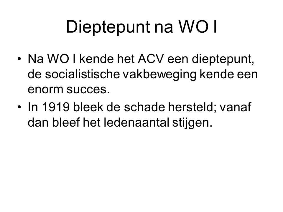 Dieptepunt na WO I Na WO I kende het ACV een dieptepunt, de socialistische vakbeweging kende een enorm succes. In 1919 bleek de schade hersteld; vanaf