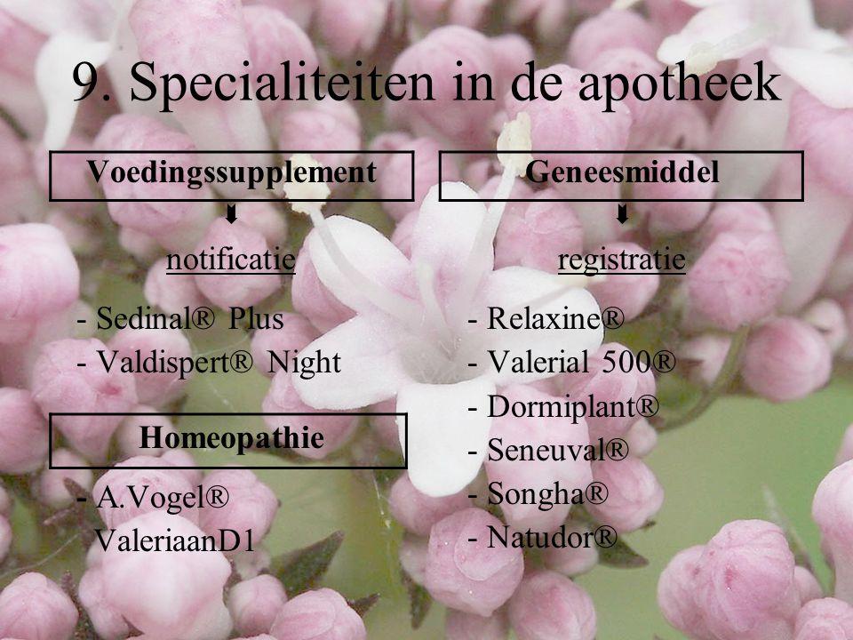 9. Specialiteiten in de apotheek Voedingssupplement  notificatie - Sedinal® Plus - Valdispert® Night Homeopathie - A.Vogel® ValeriaanD1 Geneesmiddel