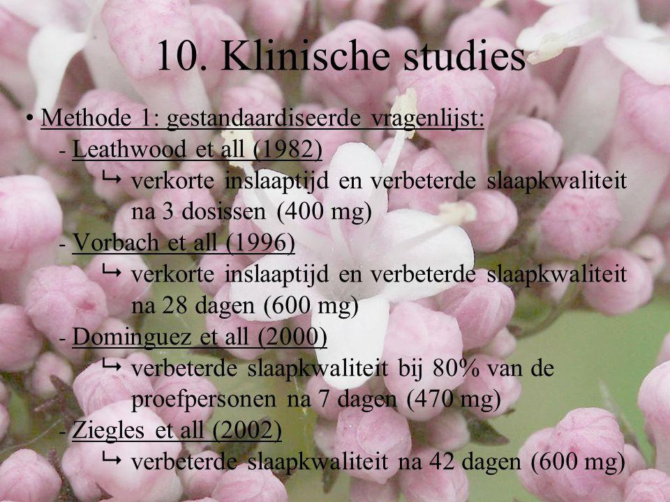 Methode 1: gestandaardiseerde vragenlijst: - Leathwood et all (1982)  verkorte inslaaptijd en verbeterde slaapkwaliteit na 3 dosissen (400 mg) - Vorb