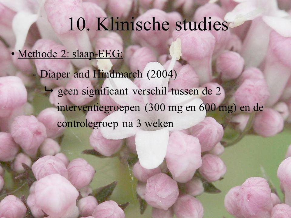 Methode 2: slaap-EEG: - Diaper and Hindmarch (2004)  geen significant verschil tussen de 2 interventiegroepen (300 mg en 600 mg) en de controlegroep