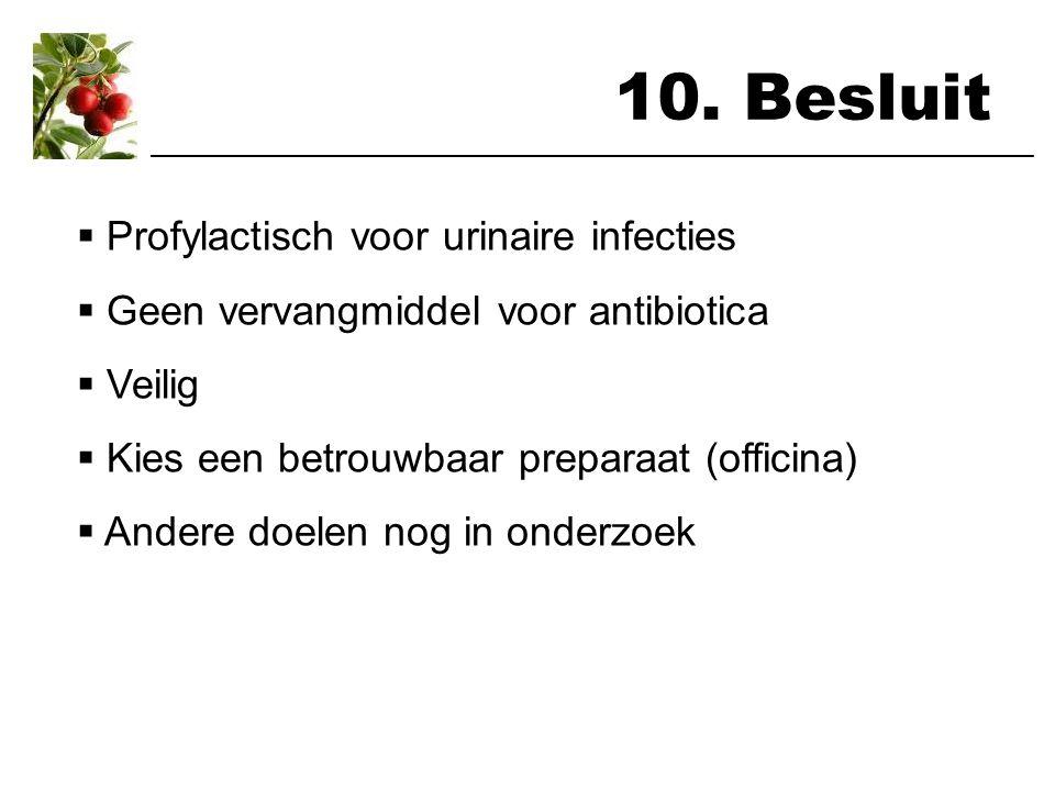 10. Besluit ___________________________________________________________________  Profylactisch voor urinaire infecties  Geen vervangmiddel voor anti