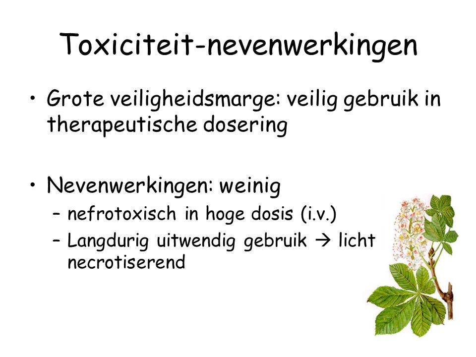 Toxiciteit-nevenwerkingen Grote veiligheidsmarge: veilig gebruik in therapeutische dosering Nevenwerkingen: weinig –nefrotoxisch in hoge dosis (i.v.)