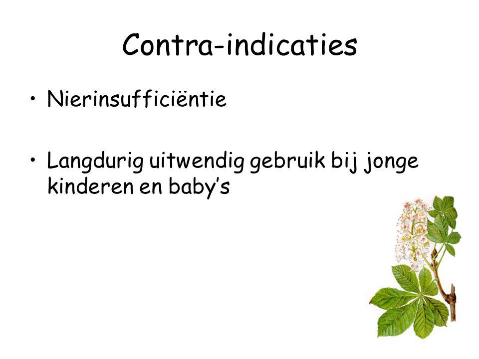 Contra-indicaties Nierinsufficiëntie Langdurig uitwendig gebruik bij jonge kinderen en baby's