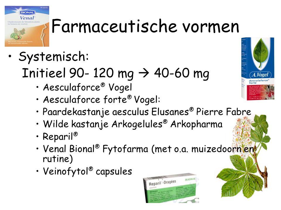 Farmaceutische vormen Systemisch: Initieel 90- 120 mg  40-60 mg Aesculaforce ® Vogel Aesculaforce forte ® Vogel: Paardekastanje aesculus Elusanes ® P