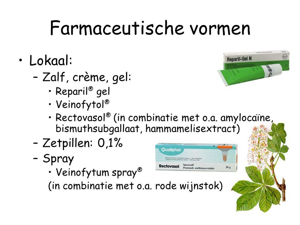 Farmaceutische vormen Lokaal: –Zalf, crème, gel: Reparil ® gel Veinofytol ® Rectovasol ® (in combinatie met o.a. amylocaïne, bismuthsubgallaat, hammam