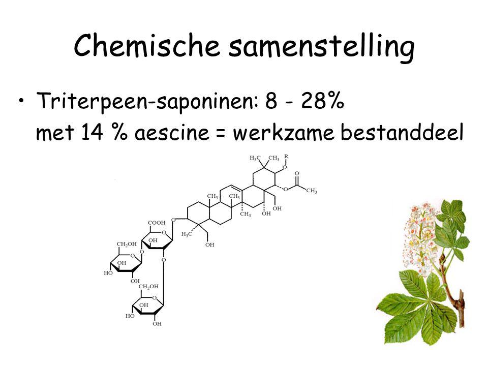 Chemische samenstelling Triterpeen-saponinen: 8 - 28% met 14 % aescine = werkzame bestanddeel