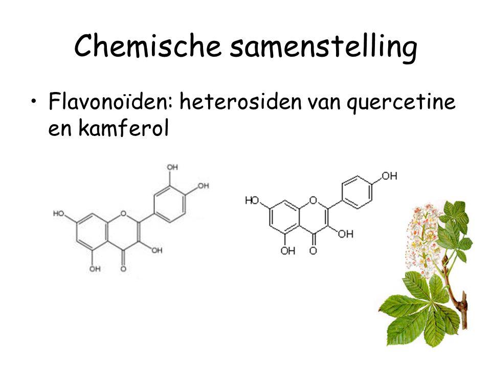 Chemische samenstelling Andere: –30 -60 % zetmeel –6 % vetstoffen –6 – 10 % eiwitten –2 % taninen –Coumarines: aesculine en oxycoumarine (enkel in de schors)
