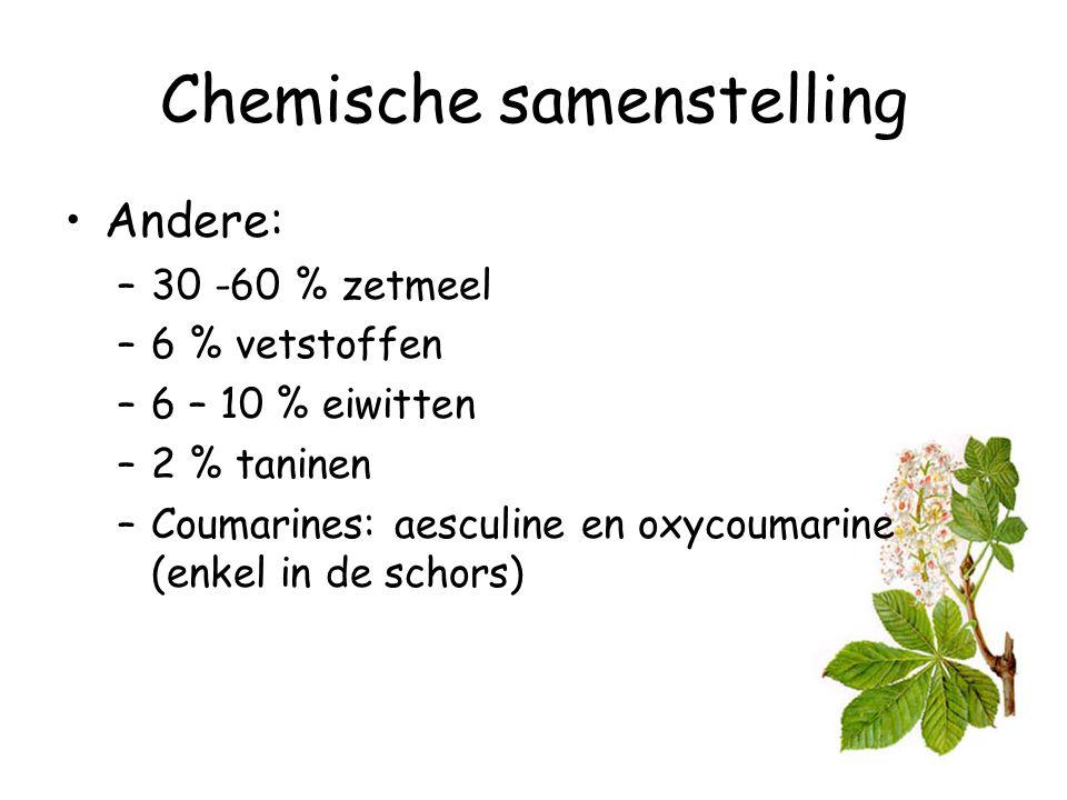 Chemische samenstelling Andere: –30 -60 % zetmeel –6 % vetstoffen –6 – 10 % eiwitten –2 % taninen –Coumarines: aesculine en oxycoumarine (enkel in de