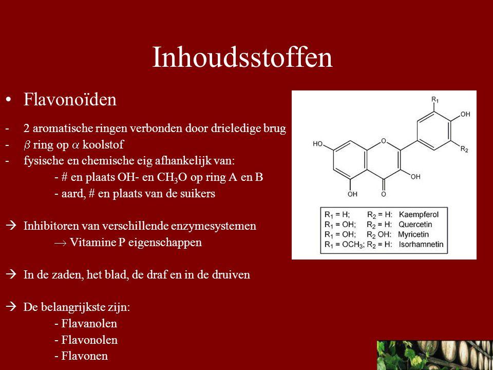 Resveratrol - fytoalexin - cardioprotectief  In het blad, schil van de druif Tanninen - grootste groep polyfenolen - hoog moleculair componenten (MM 500-5000) met vele fenolische hydroxylgroepen  vormen stabiele verbindingen met eiwitten waardoor enzymen geïnhibeerd worden  In de zaden, het blad en de draf  De belangrijkste zijn: - Oligomere proanthocyanidines (OPC) - Monomere catechines Inhoudsstoffen