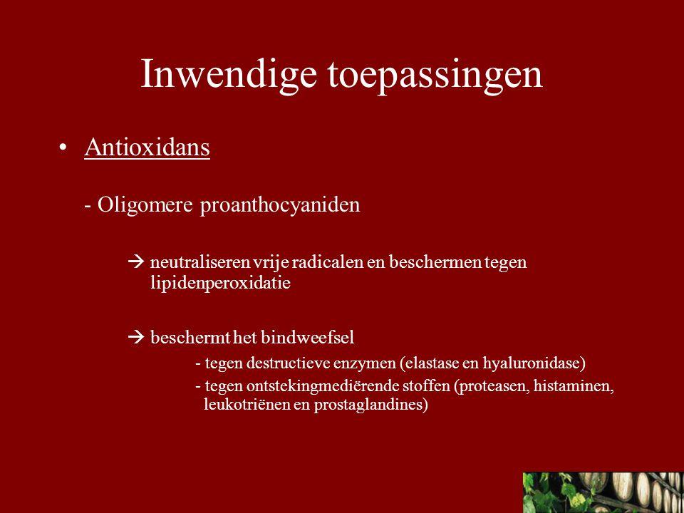 Besluit Vitis vinifera Dankzij de oligomere proanthocyaniden en resveratrol  Antioxiderende werking  Vasculaire bescherming Deze actieve bestanddelen verklaren de french paradox Wijn is dus geen geneemiddel maar wel een middel om ziekten te voorkomen