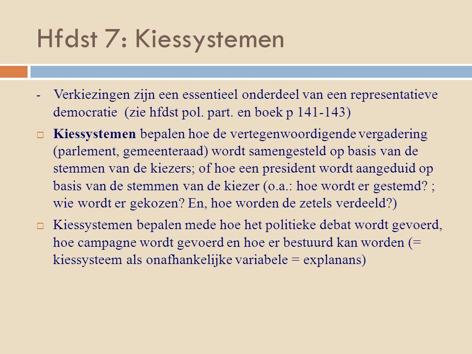 Hfdst 7: Kiessystemen - Verkiezingen zijn een essentieel onderdeel van een representatieve democratie (zie hfdst pol. part. en boek p 141-143)  Kiess