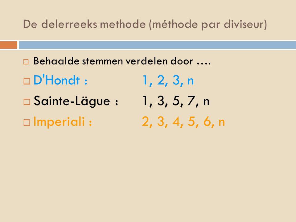 De delerreeks methode (méthode par diviseur)  Behaalde stemmen verdelen door ….  D'Hondt : 1, 2, 3, n  Sainte-Lägue : 1, 3, 5, 7, n  Imperiali : 2