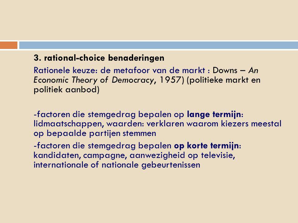 3. rational-choice benaderingen Rationele keuze: de metafoor van de markt : Downs – An Economic Theory of Democracy, 1957) (politieke markt en politie