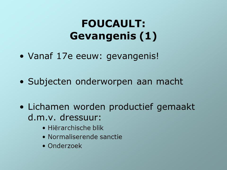 FOUCAULT: Gevangenis (1) Vanaf 17e eeuw: gevangenis! Subjecten onderworpen aan macht Lichamen worden productief gemaakt d.m.v. dressuur: Hiërarchische