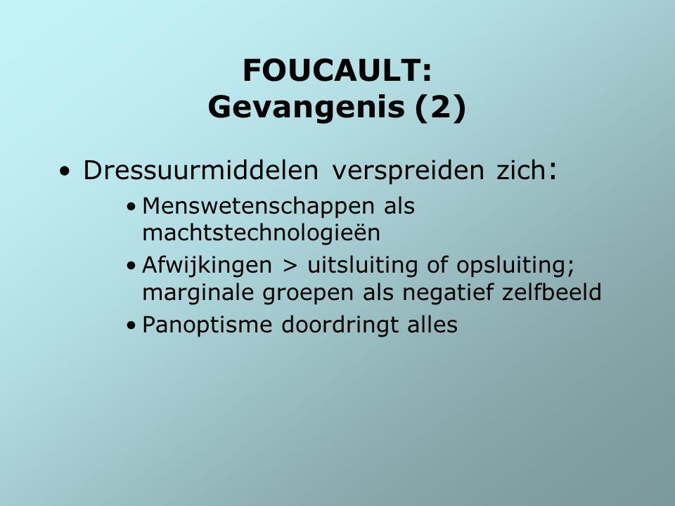 FOUCAULT: Gevangenis (2) Dressuurmiddelen verspreiden zich : Menswetenschappen als machtstechnologieën Afwijkingen > uitsluiting of opsluiting; margin