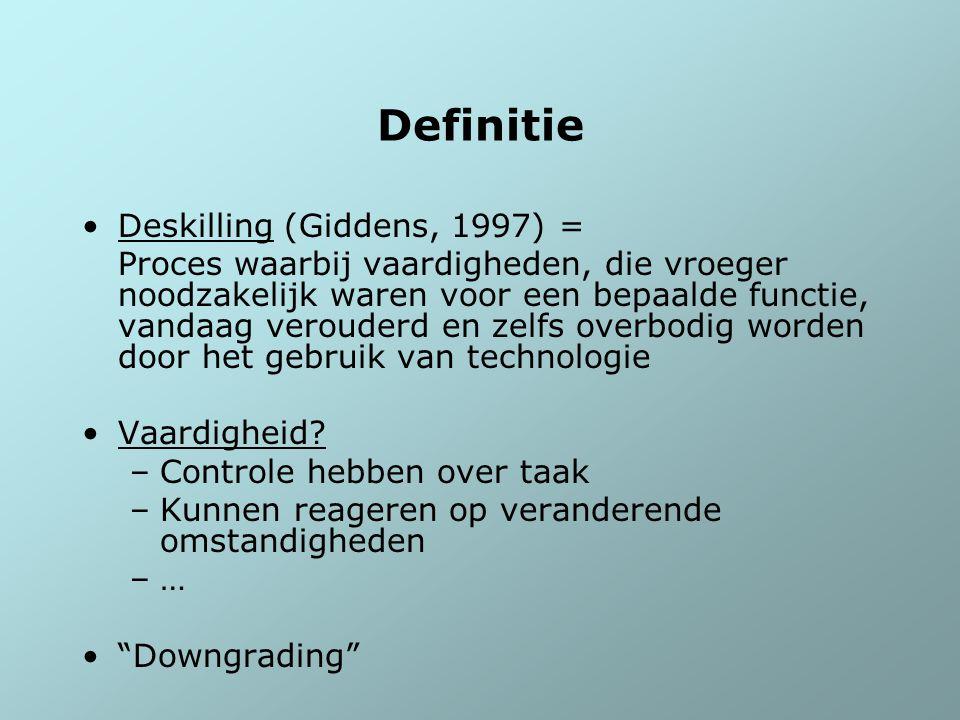 Definitie Deskilling (Giddens, 1997) = Proces waarbij vaardigheden, die vroeger noodzakelijk waren voor een bepaalde functie, vandaag verouderd en zel