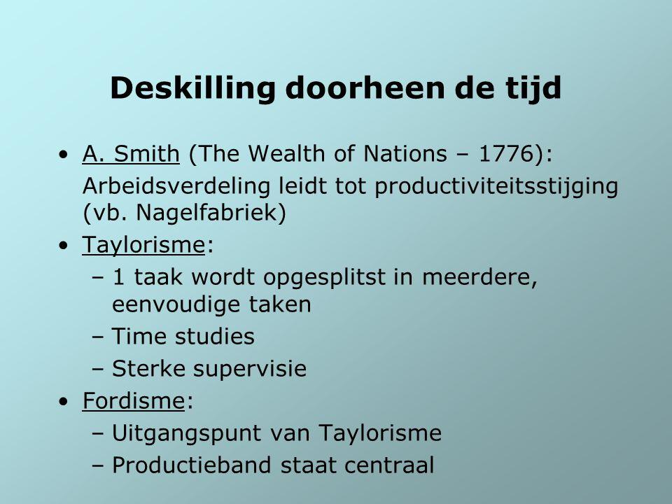 Deskilling doorheen de tijd A. Smith (The Wealth of Nations – 1776): Arbeidsverdeling leidt tot productiviteitsstijging (vb. Nagelfabriek) Taylorisme:
