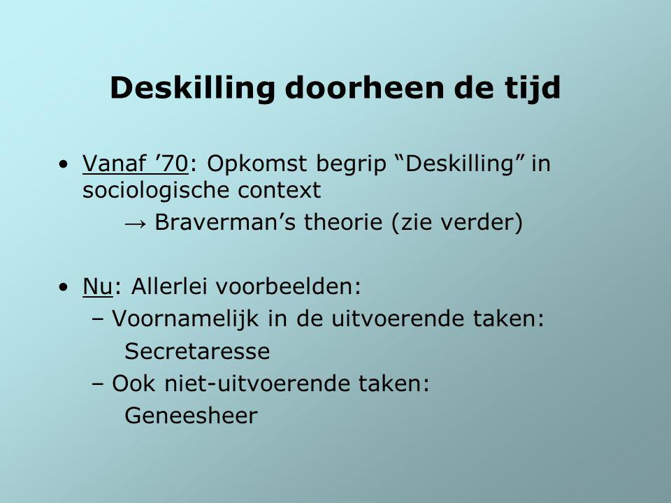 """Deskilling doorheen de tijd Vanaf '70: Opkomst begrip """"Deskilling"""" in sociologische context → Braverman's theorie (zie verder) Nu: Allerlei voorbeelde"""