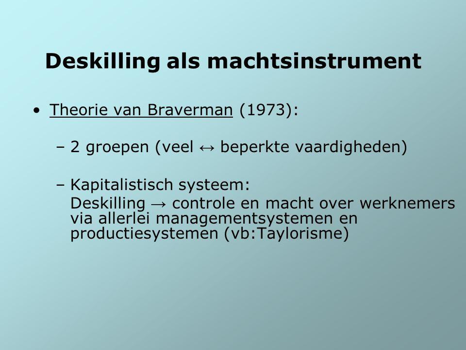 Deskilling als machtsinstrument Theorie van Braverman (1973): –2 groepen (veel ↔ beperkte vaardigheden) –Kapitalistisch systeem: Deskilling → controle