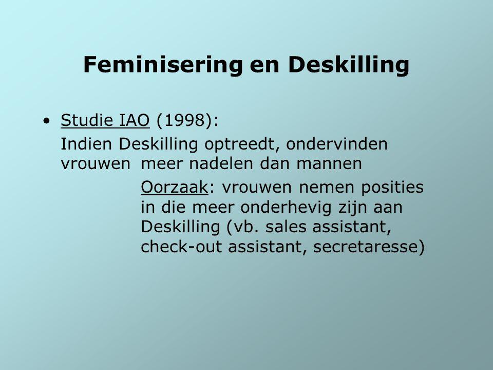 Feminisering en Deskilling Studie IAO (1998): Indien Deskilling optreedt, ondervinden vrouwen meer nadelen dan mannen Oorzaak: vrouwen nemen posities