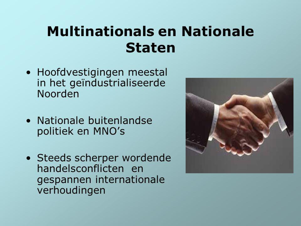 Multinationals en Nationale Staten Hoofdvestigingen meestal in het geïndustrialiseerde Noorden Nationale buitenlandse politiek en MNO's Steeds scherpe