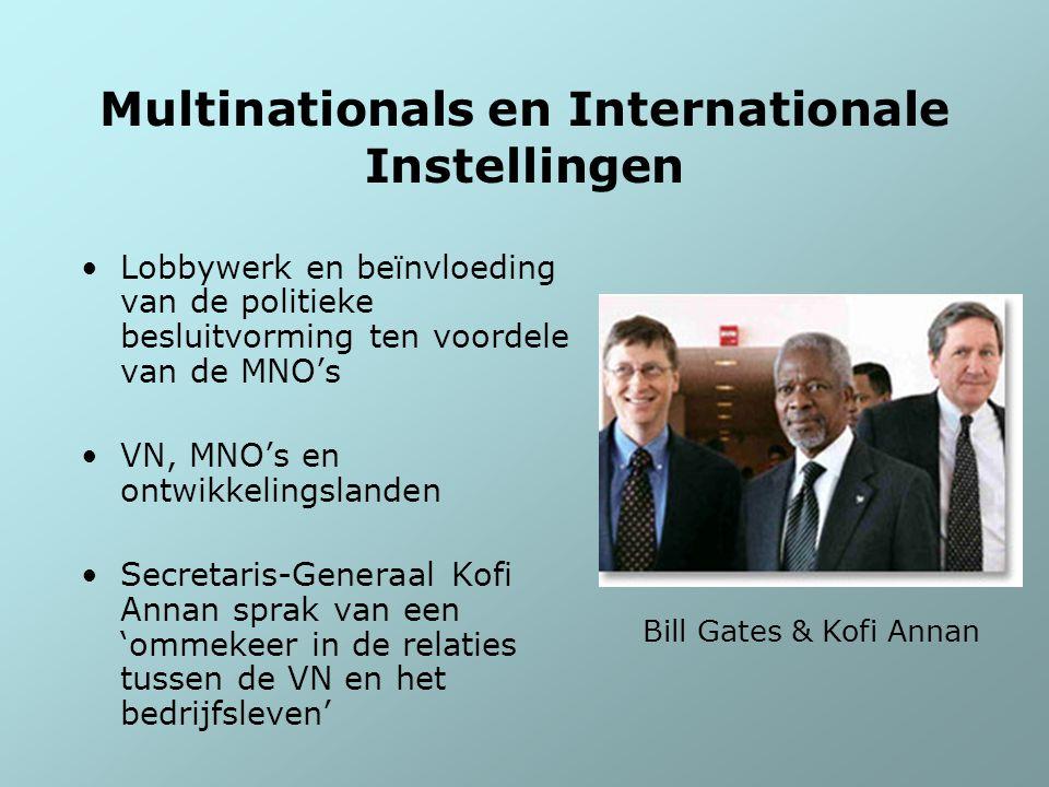 Multinationals en Internationale Instellingen Lobbywerk en beïnvloeding van de politieke besluitvorming ten voordele van de MNO's VN, MNO's en ontwikk