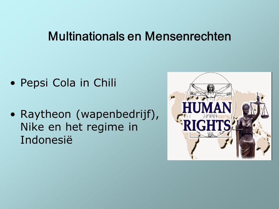 Multinationals en Mensenrechten Pepsi Cola in Chili Raytheon (wapenbedrijf), Nike en het regime in Indonesië