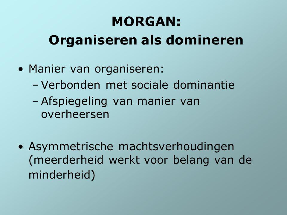 MORGAN: Organiseren als domineren Manier van organiseren: –Verbonden met sociale dominantie –Afspiegeling van manier van overheersen Asymmetrische mac