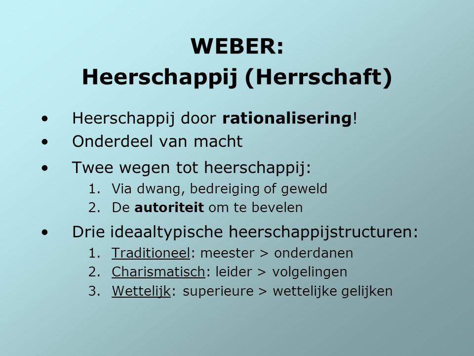 WEBER: Heerschappij (Herrschaft) Heerschappij door rationalisering! Onderdeel van macht Twee wegen tot heerschappij: 1.Via dwang, bedreiging of geweld