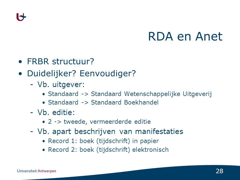 29 RDA en België RDA in Vlaanderen -Wie: Anet, Bibnet, Libis, UGent, VUB.