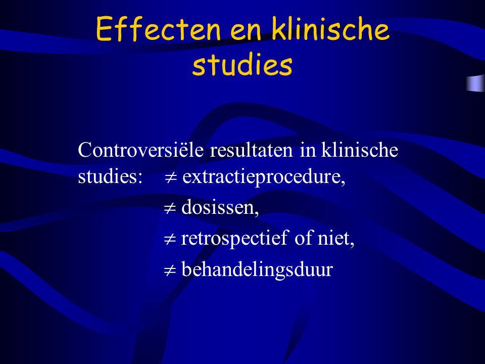 Effecten en klinische studies Controversiële resultaten in klinische studies:  extractieprocedure,  dosissen,  retrospectief of niet,  behandelingsduur