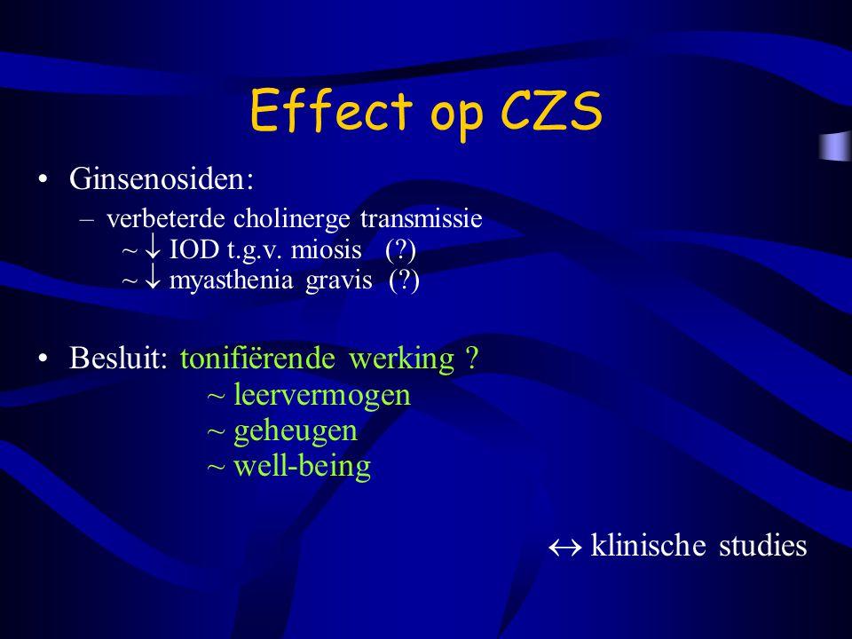 Effect op CZS Ginsenosiden: –verbeterde cholinerge transmissie ~  IOD t.g.v.