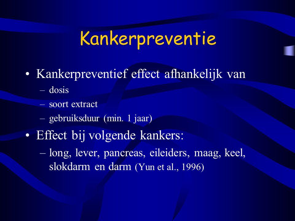 Kankerpreventie Kankerpreventief effect afhankelijk van –dosis –soort extract –gebruiksduur (min.