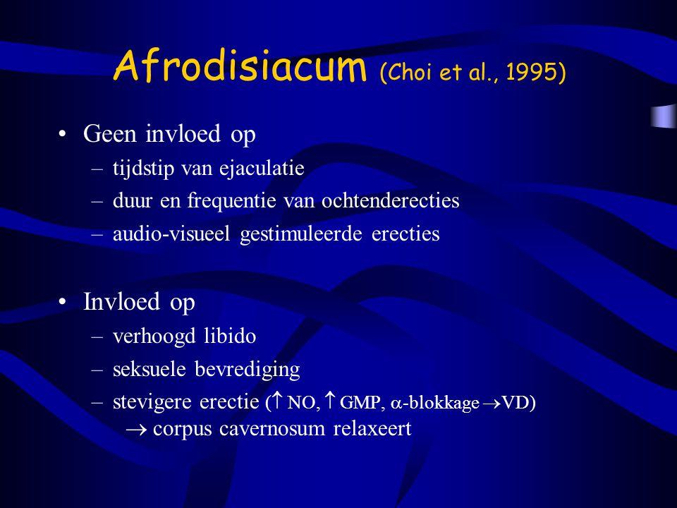 Afrodisiacum (Choi et al., 1995) Geen invloed op –tijdstip van ejaculatie –duur en frequentie van ochtenderecties –audio-visueel gestimuleerde erecties Invloed op –verhoogd libido –seksuele bevrediging –stevigere erectie (  NO,  GMP,  -blokkage  VD)  corpus cavernosum relaxeert
