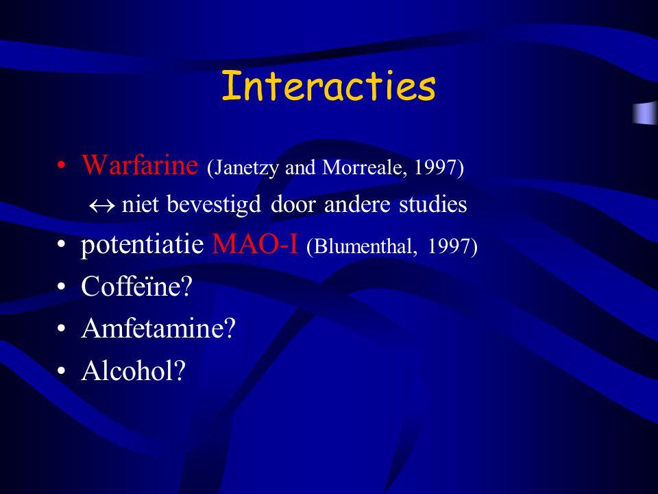 Interacties Warfarine (Janetzy and Morreale, 1997)  niet bevestigd door andere studies potentiatie MAO-I (Blumenthal, 1997) Coffeïne.