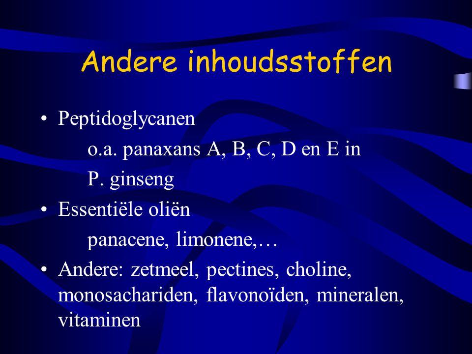Andere inhoudsstoffen Peptidoglycanen o.a.panaxans A, B, C, D en E in P.