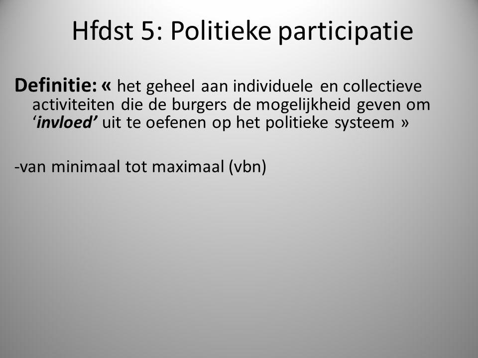Hfdst 5: Politieke participatie Definitie: « het geheel aan individuele en collectieve activiteiten die de burgers de mogelijkheid geven om 'invloed'