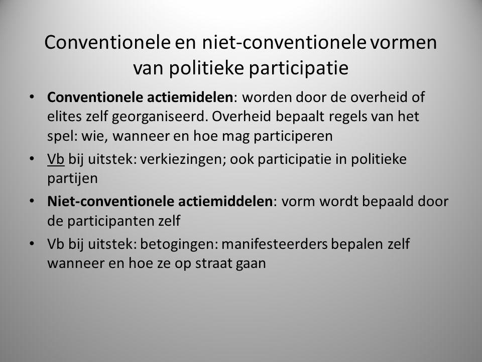 Conventionele en niet-conventionele vormen van politieke participatie Conventionele actiemidelen: worden door de overheid of elites zelf georganiseerd