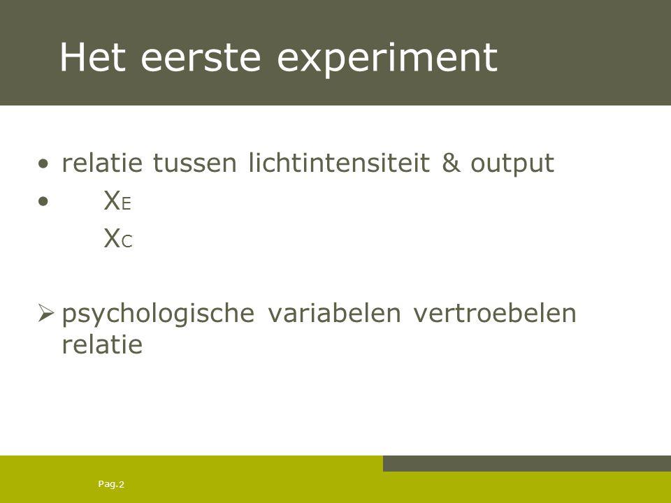 Pag. 2 Het eerste experiment relatie tussen lichtintensiteit & output X E XCXC  psychologische variabelen vertroebelen relatie