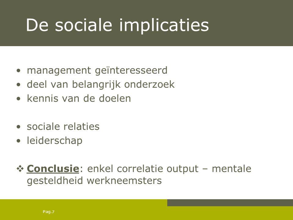 Pag. 7 De sociale implicaties management geïnteresseerd deel van belangrijk onderzoek kennis van de doelen sociale relaties leiderschap  Conclusie: e