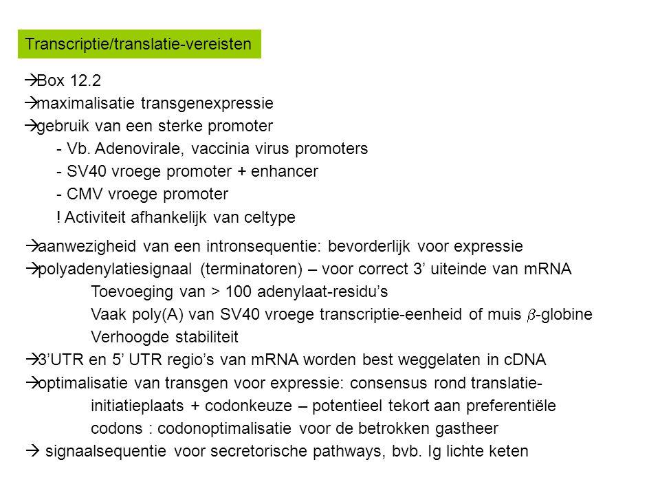 Transcriptie/translatie-vereisten  Box 12.2  maximalisatie transgenexpressie  gebruik van een sterke promoter - Vb. Adenovirale, vaccinia virus pro