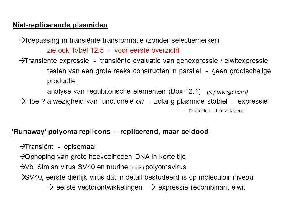 Niet-replicerende plasmiden  Toepassing in transiënte transformatie (zonder selectiemerker) zie ook Tabel 12.5 - voor eerste overzicht  Transiënte e