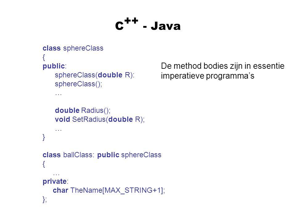 C - Java ++ class sphereClass { public: sphereClass(double R): sphereClass(); … double Radius(); void SetRadius(double R); … } class ballClass: public